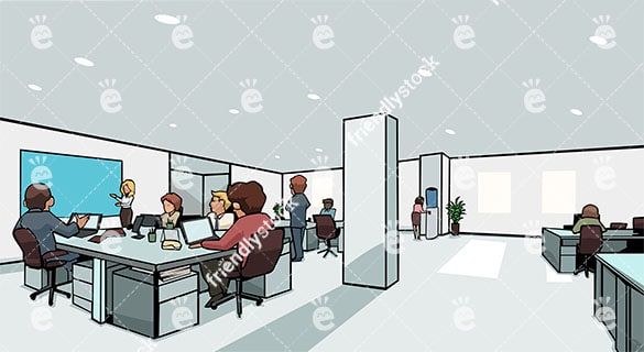Modern Coworking Space With Busy People Working Vector Background