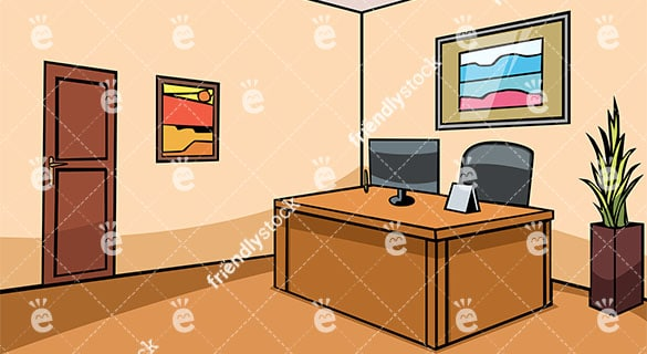 Empty Office Reception Desk Vector Background - FriendlyStock.com