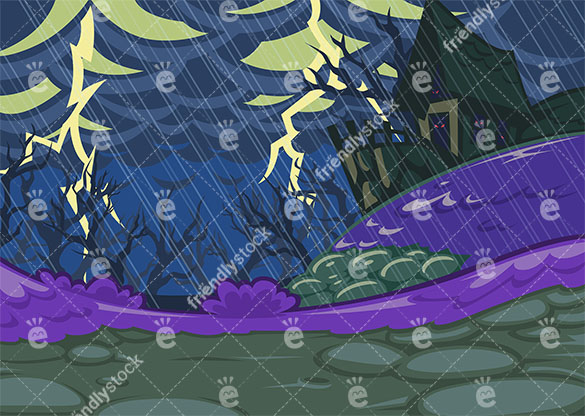 secluded haunted house on a rainy night with thunder and lightning vector background friendlystock com secluded haunted house on a rainy night with thunder and lightning vector background friendlystock com