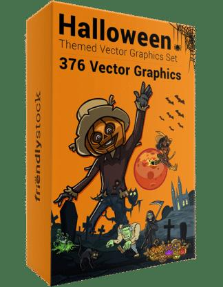376 Halloween-Themed Vector Graphics Set