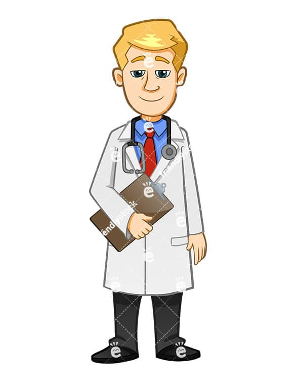 Doctor Wearing Stethoscope And Holding Medical Report