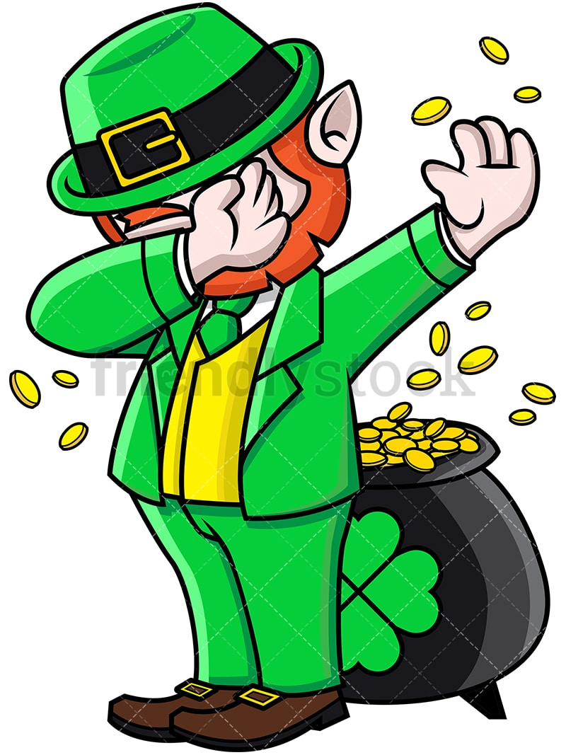 Dabbing leprechaun cartoon vector clipart friendlystock leprechaun doing the dab png jpg and vector eps file formats infinitely scalable altavistaventures