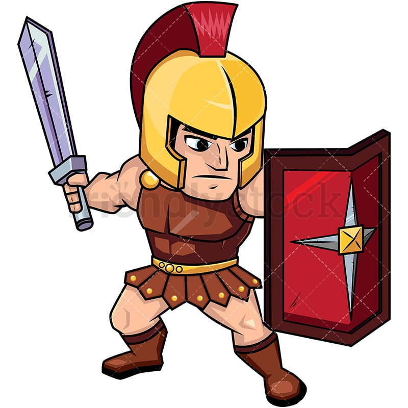 roman soldier on guard with shield vector cartoon clipart rh friendlystock com roman soldier armor clipart
