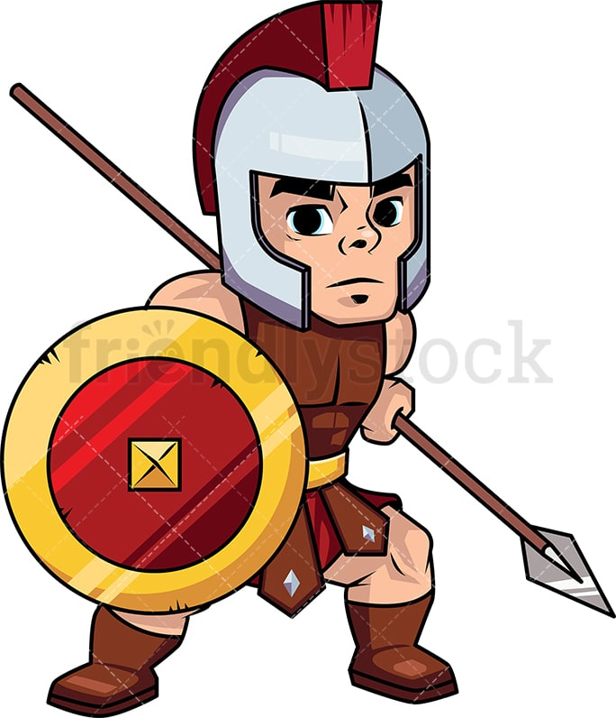 roman spearman warrior with shield cartoon vector clipart rh friendlystock com warrior clipart png warrior clipart free