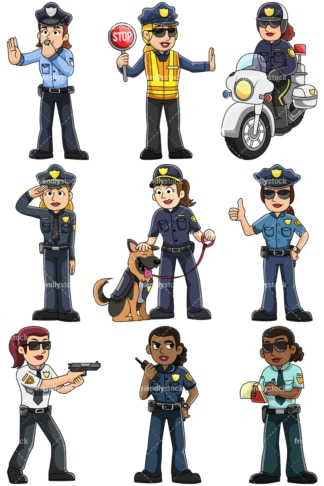 Female police officers - Images isolated on transparent background. PNG