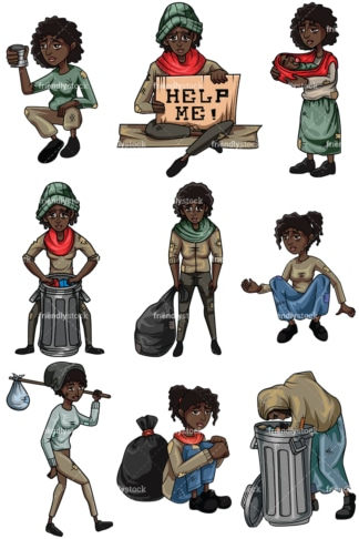 Homeless black women. PNG - JPG and vector EPS file formats (infinitely scalable). Images isolated on transparent background.