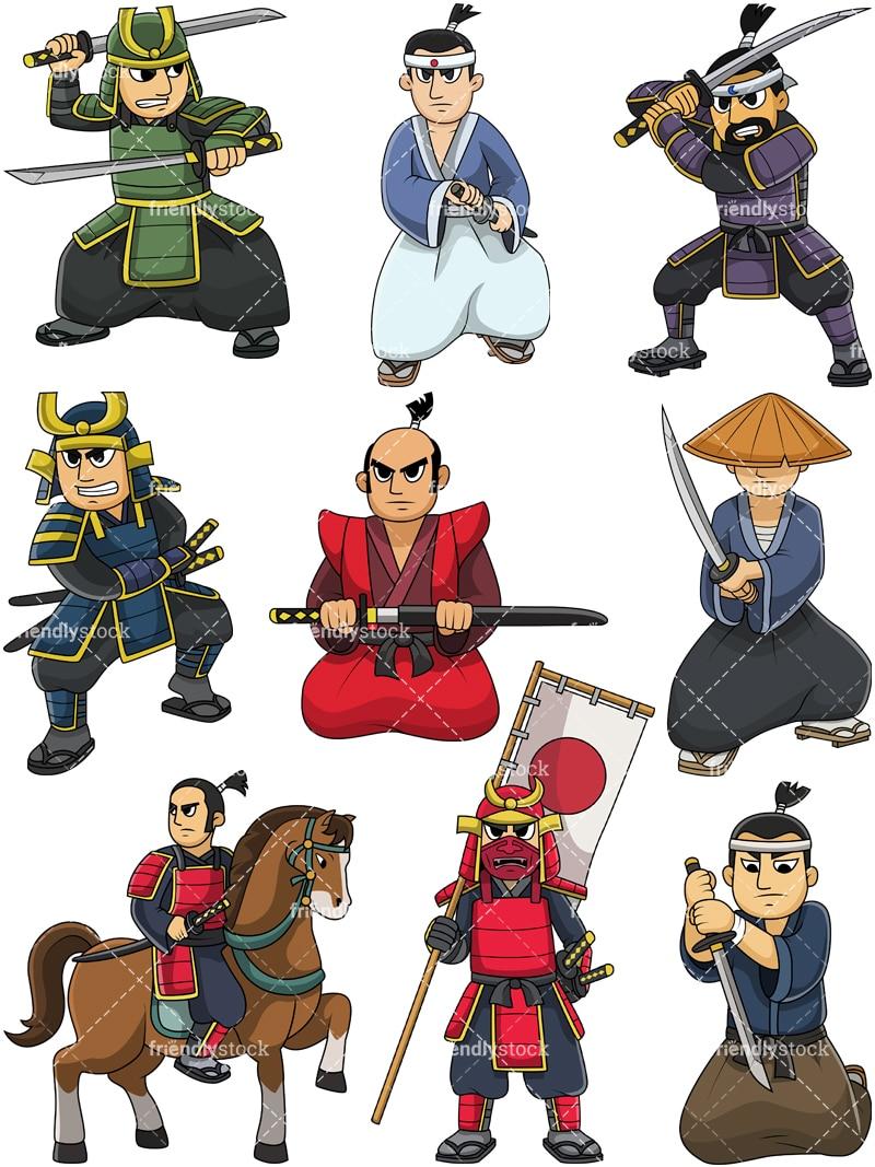 Japanese Samurai Warriors Cartoon Vector Clipart Friendlystock