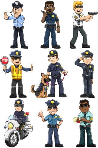 Male police officers - Images isolated on transparent background. PNG