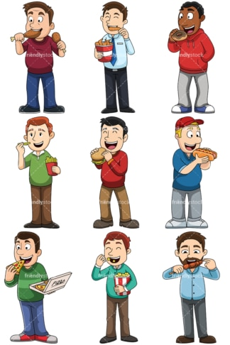 Men eating junk food - Images isolated on transparent background. PNG