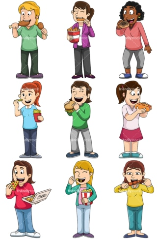 Women eating junk food - Images isolated on transparent background. PNG