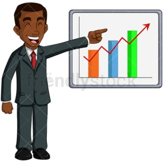 Black business man growth chart - Image isolated on transparent background. PNG