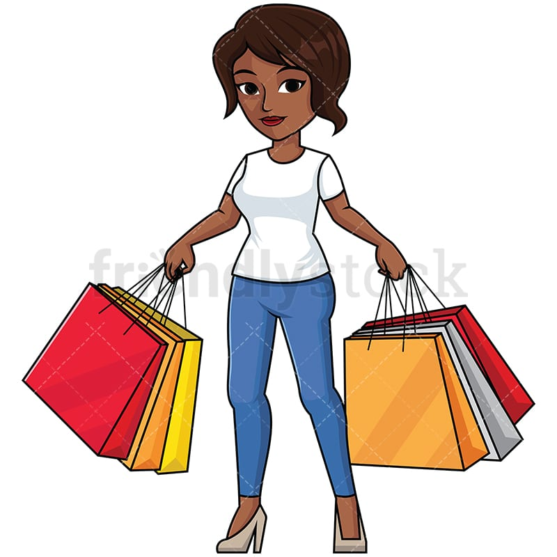 Black Woman Holding Shopping Bags Vector Cartoon Clipart Friendlystock