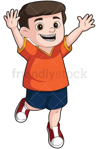 Happy boy wearing braces - Image isolated on transparent background. PNG