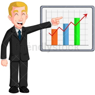 Happy business man growth chart - Image isolated on transparent background. PNG