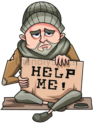 Homeless man in need of help. PNG - JPG and vector EPS file formats (infinitely scalable). Image isolated on transparent background.