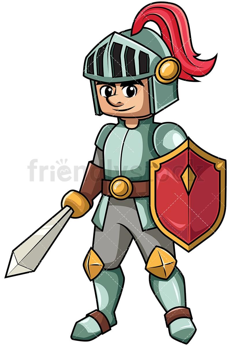 knight holding sword and shield cartoon vector clipart friendlystock rh friendlystock com night clip art knight clipart black and white