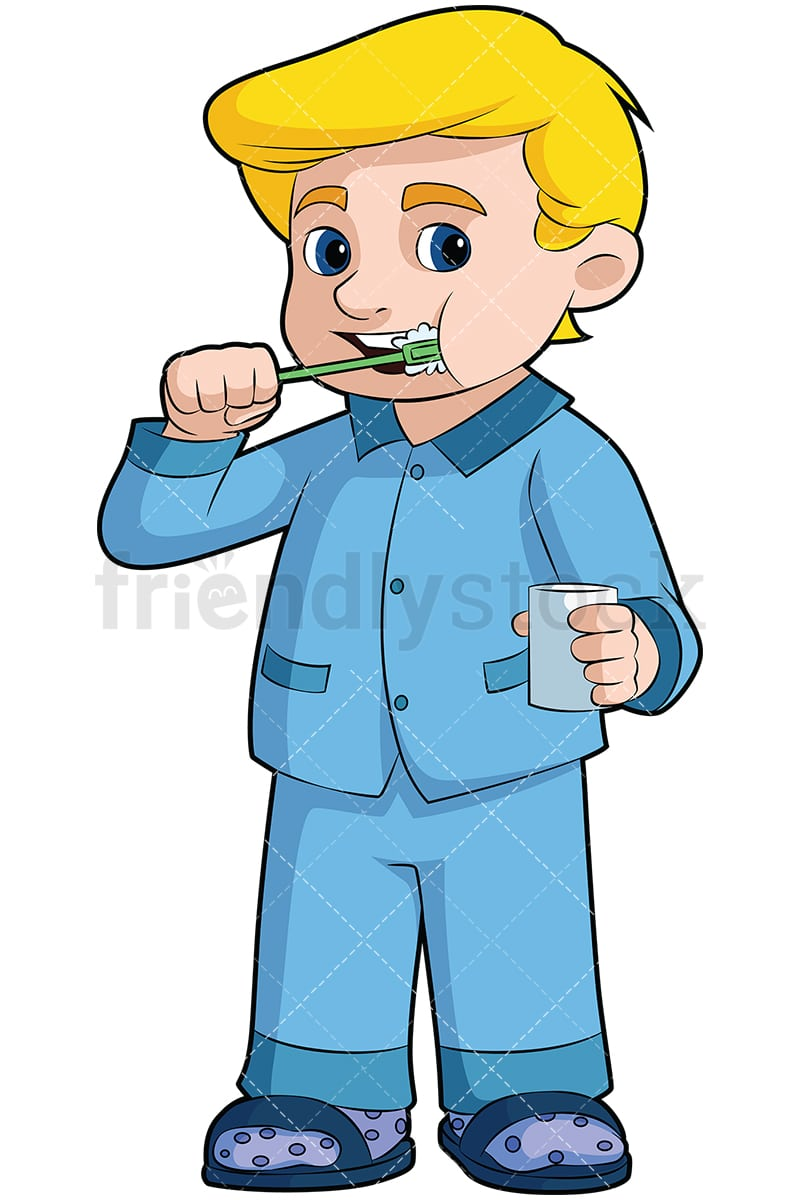 little boy brushing his teeth vector cartoon clipart - friendlystock
