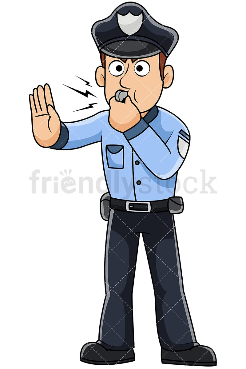 male police officer blowing whistle vector cartoon clipart rh friendlystock com police clip art for kids police clip art for kids
