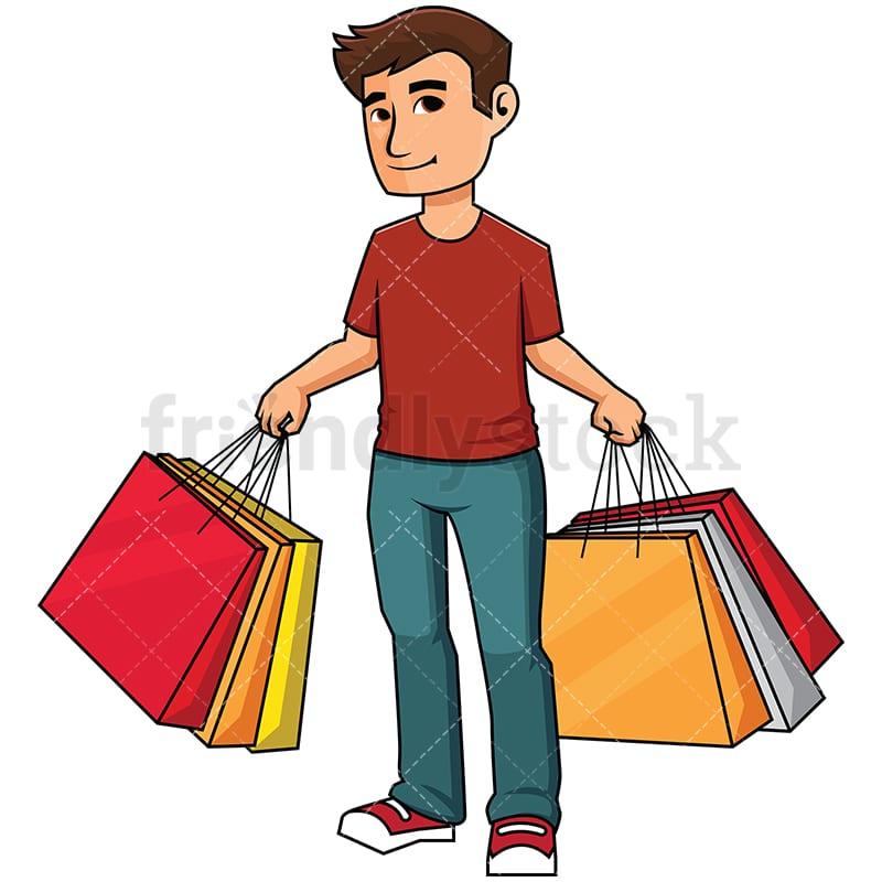 man holding shopping bags vector cartoon clipart friendlystock rh friendlystock com shopping clipart image shopping clipart black and white