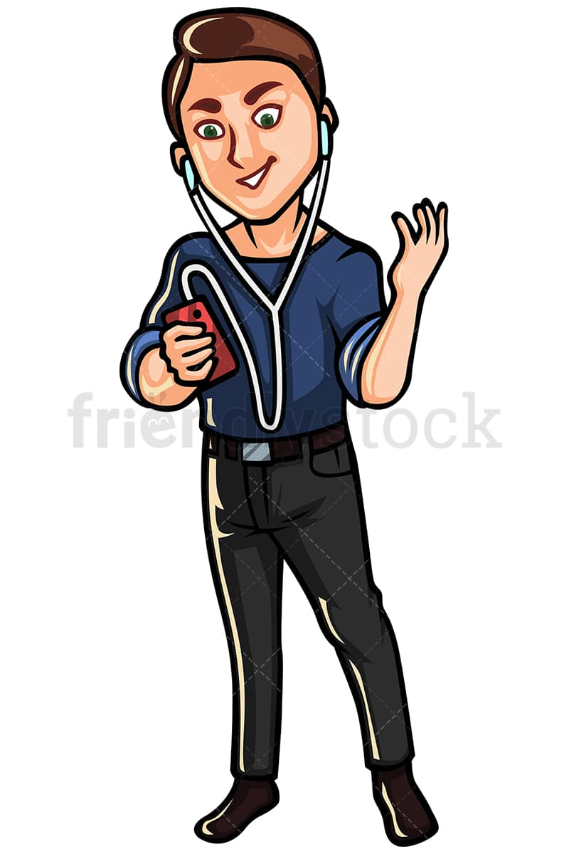 man listening to music on mobile phone vector cartoon clipart