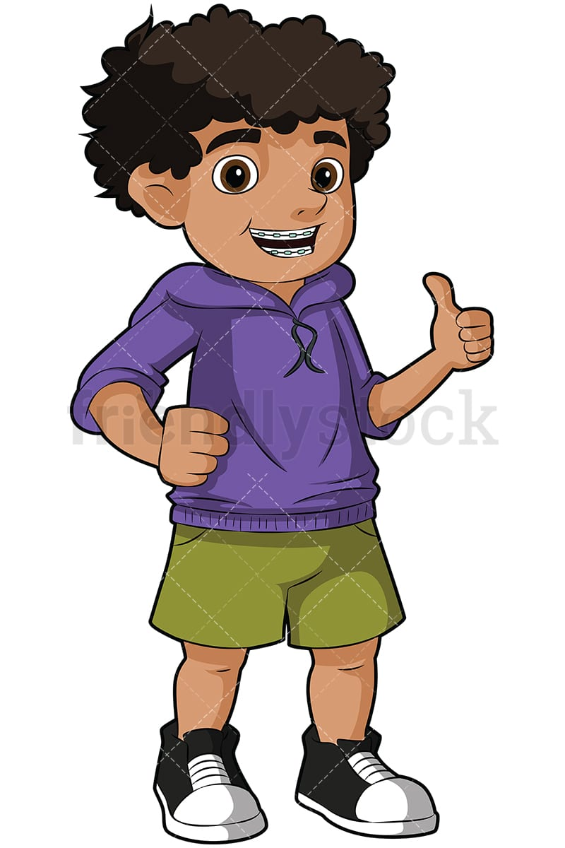 Black boy wearing braces giving the thumbs up vector cartoon clipart