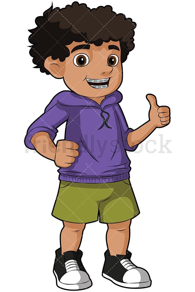 Black Boy With Braces Thumbs Up Vector Cartoon Clipart Friendlystock