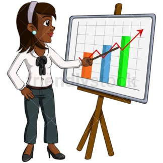 Black business woman presentation - Image isolated on transparent background. PNG