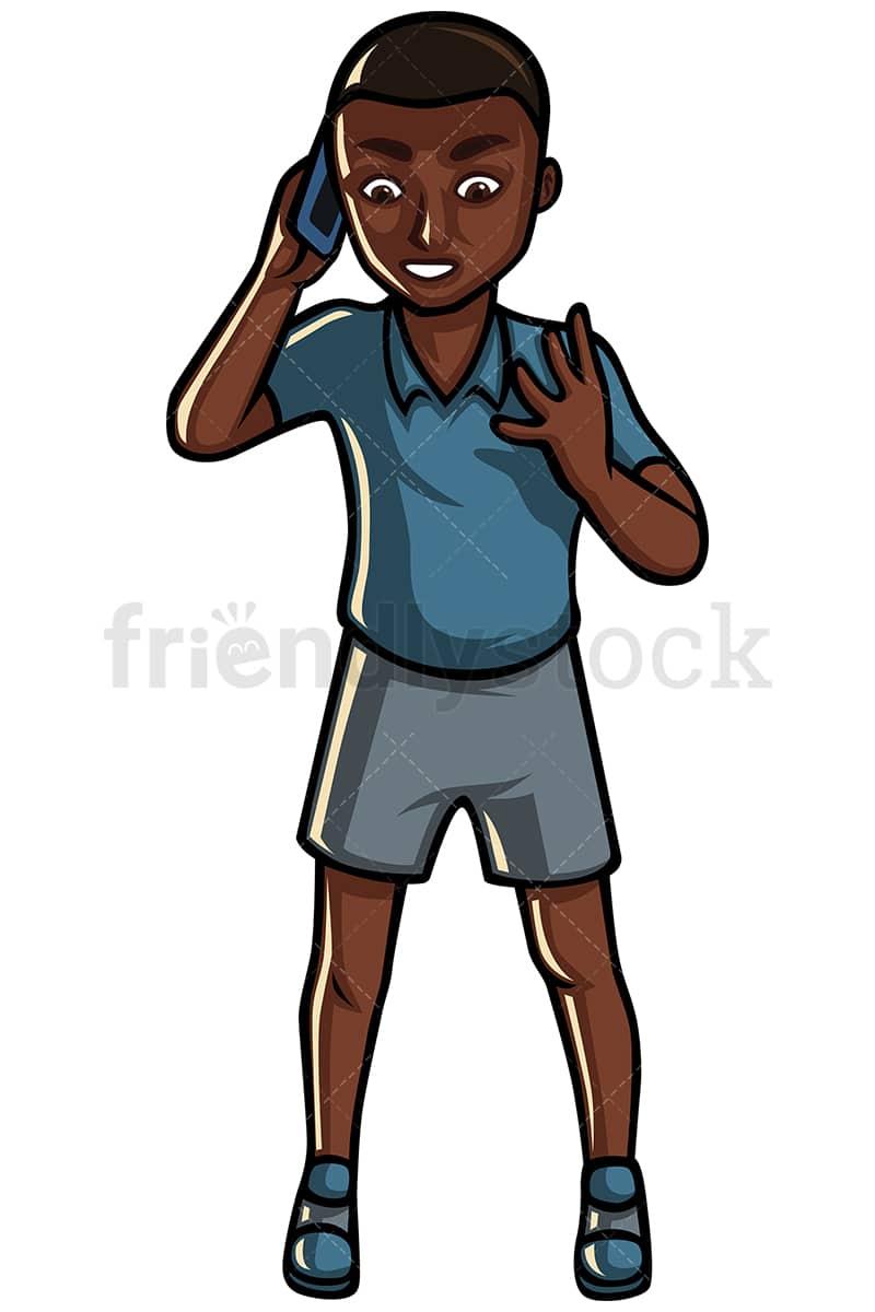 black man making a call vector cartoon clipart friendlystock rh friendlystock com Phone Service Call Center Clip Art Phone Call Center Clip Art