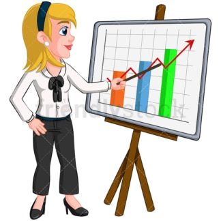 Business woman presentation graph - Image isolated on transparent background. PNG