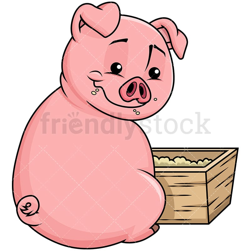 cute pig eating corn in the farm vector cartoon clipart friendlystock