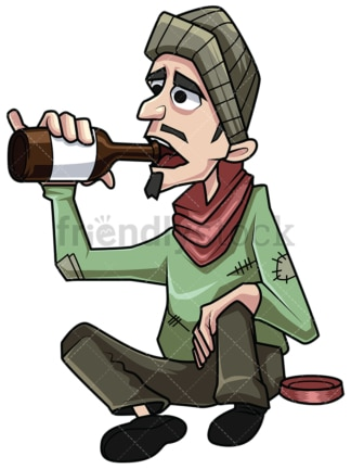 Homeless man drinking alcohol. PNG - JPG and vector EPS file formats (infinitely scalable). Image isolated on transparent background.