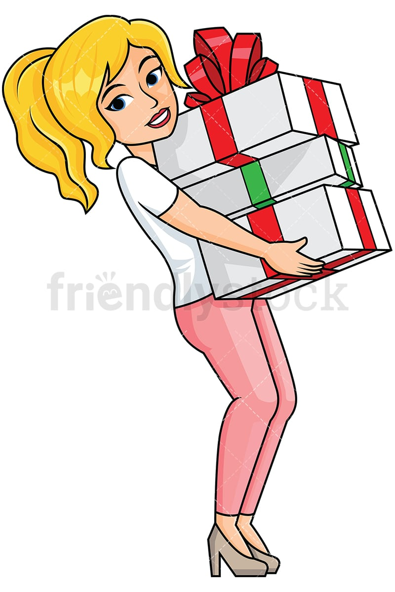 Woman Holding Presents In Her Lap Image Isolated On Transpa Background Png
