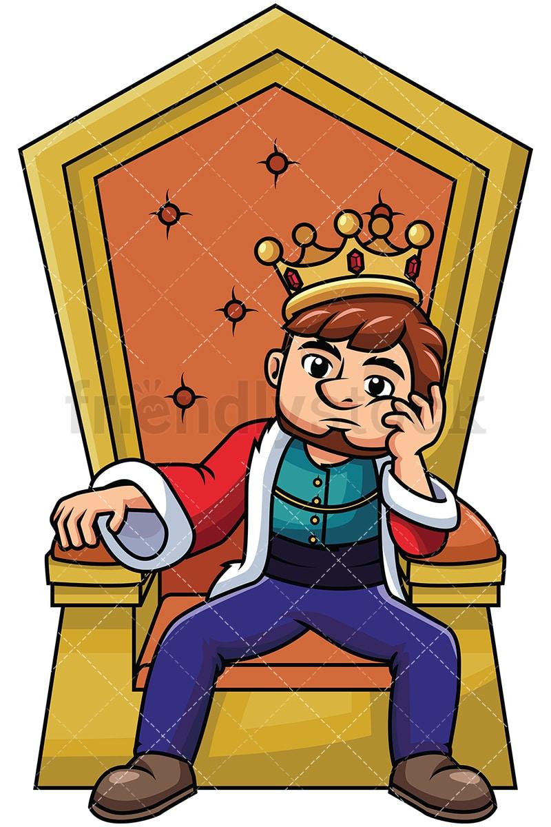 young king sitting on throne thinking vector cartoon clipart rh friendlystock com iron throne clipart throne clipart png