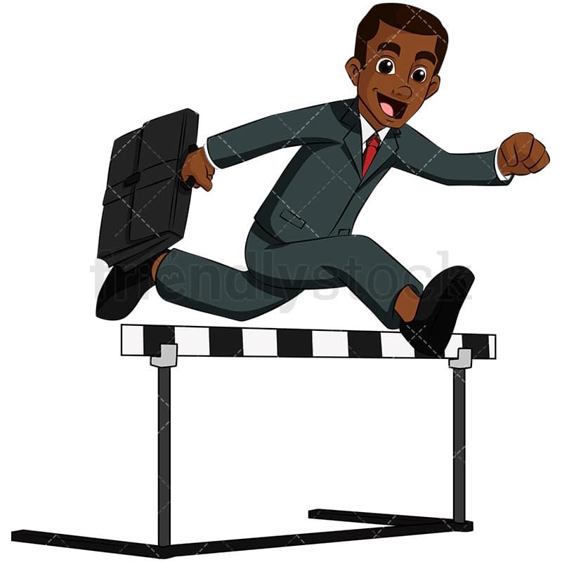black business man jumping over hurdle vector cartoon clipart rh friendlystock com hurdle jumping clipart Cartoon Hurdles