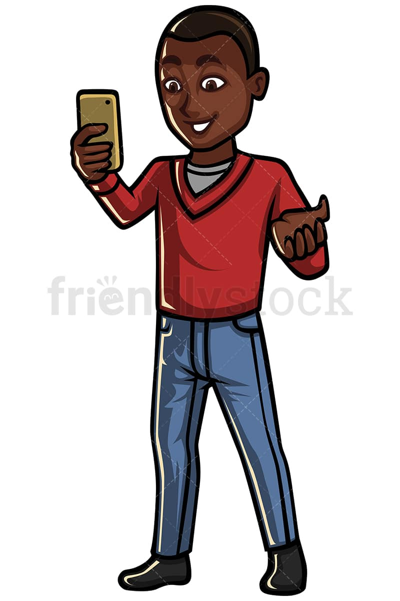 Black Man Video Calling With Cellphone Vector Cartoon Clipart Friendlystock