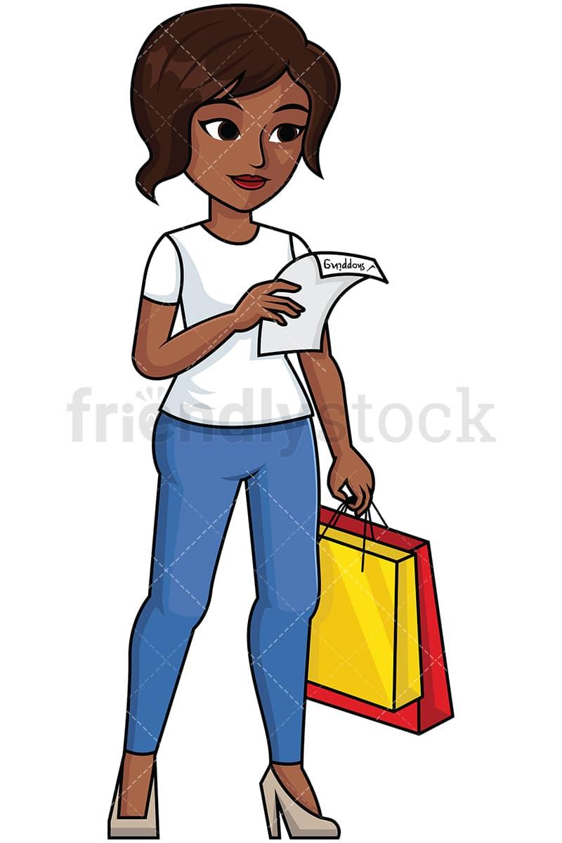 black woman reading shopping list vector cartoon clipart friendlystock rh friendlystock com black woman clipart images black women clip art photo