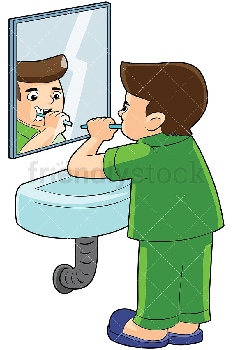 boy brushing teeth in front of a mirror vector cartoon clipart