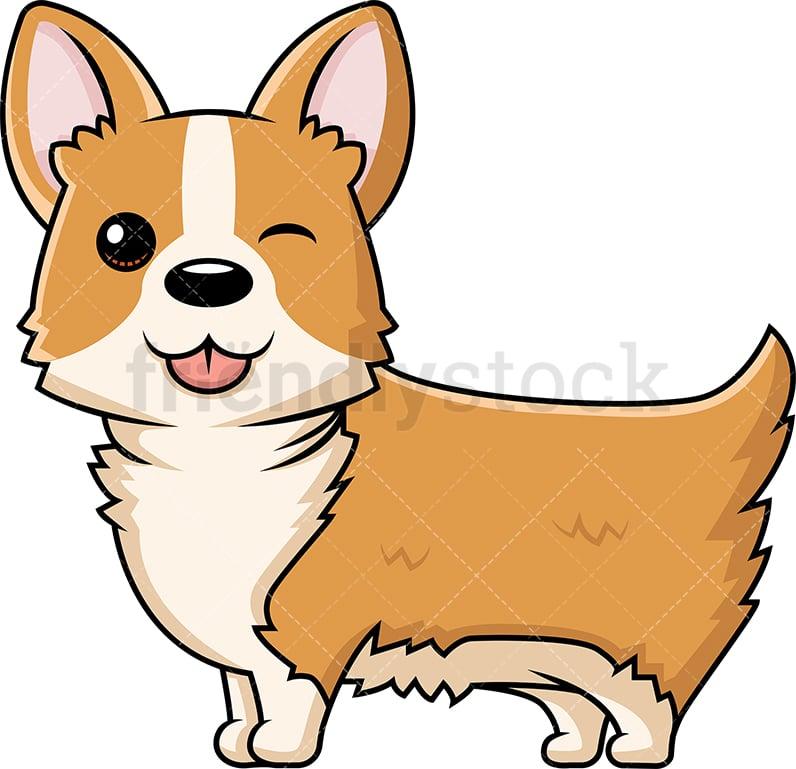 Cute Corgi Dog Winking Cartoon Vector Clipart Friendlystock