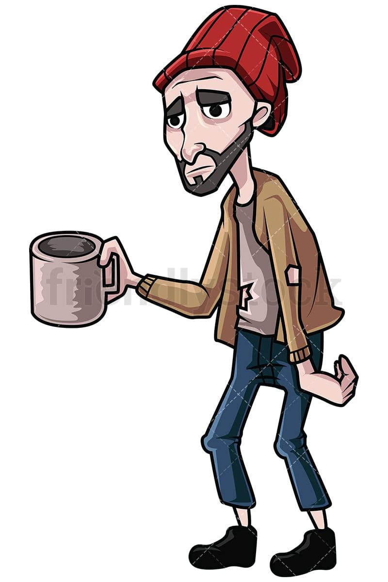 homeless man begging for money vector cartoon clipart friendlystock rh friendlystock com homeless guy clipart homeless clip 2018