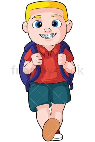 Little boy with braces going to school - Image isolated on transparent background. PNG