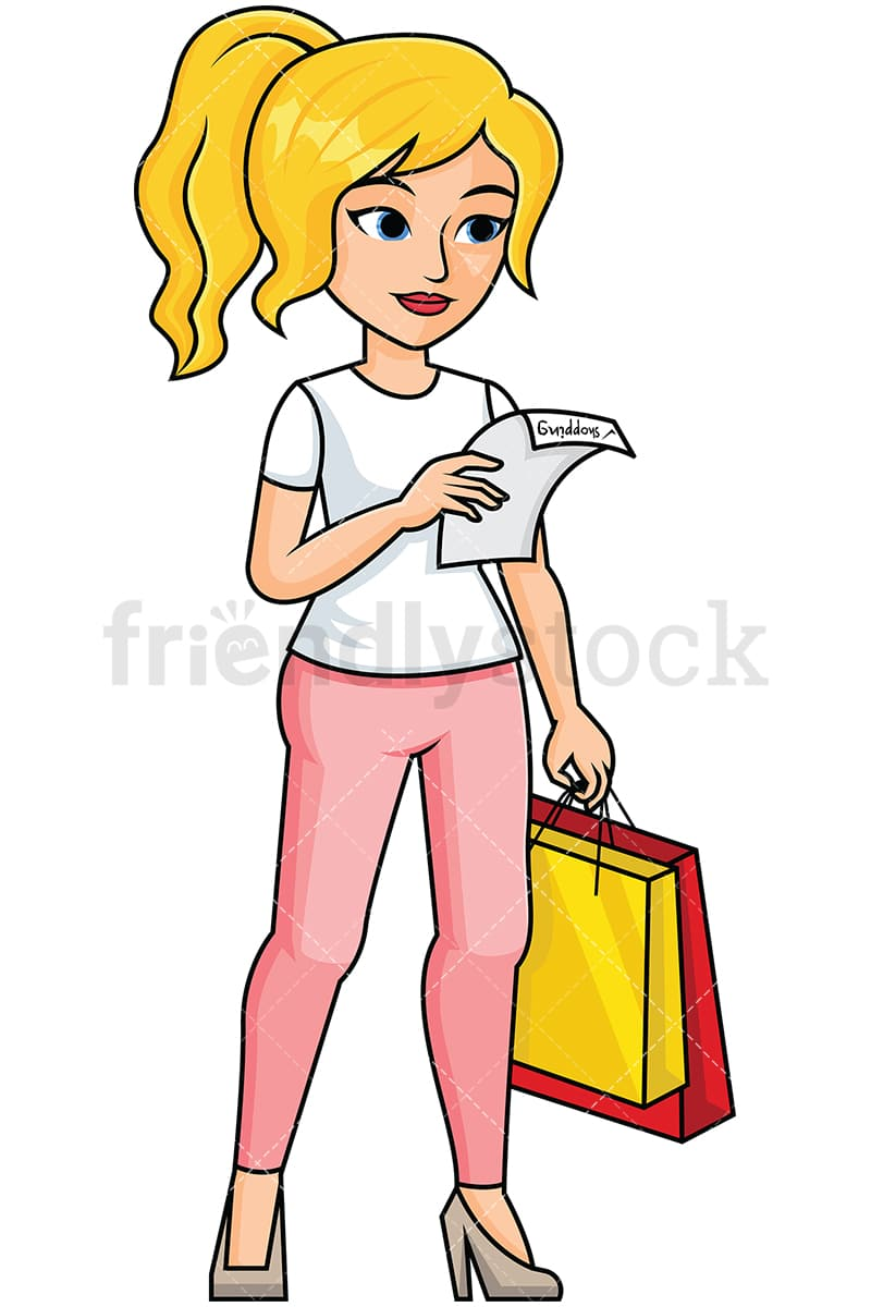 woman reading shopping list image isolated on transparent background png