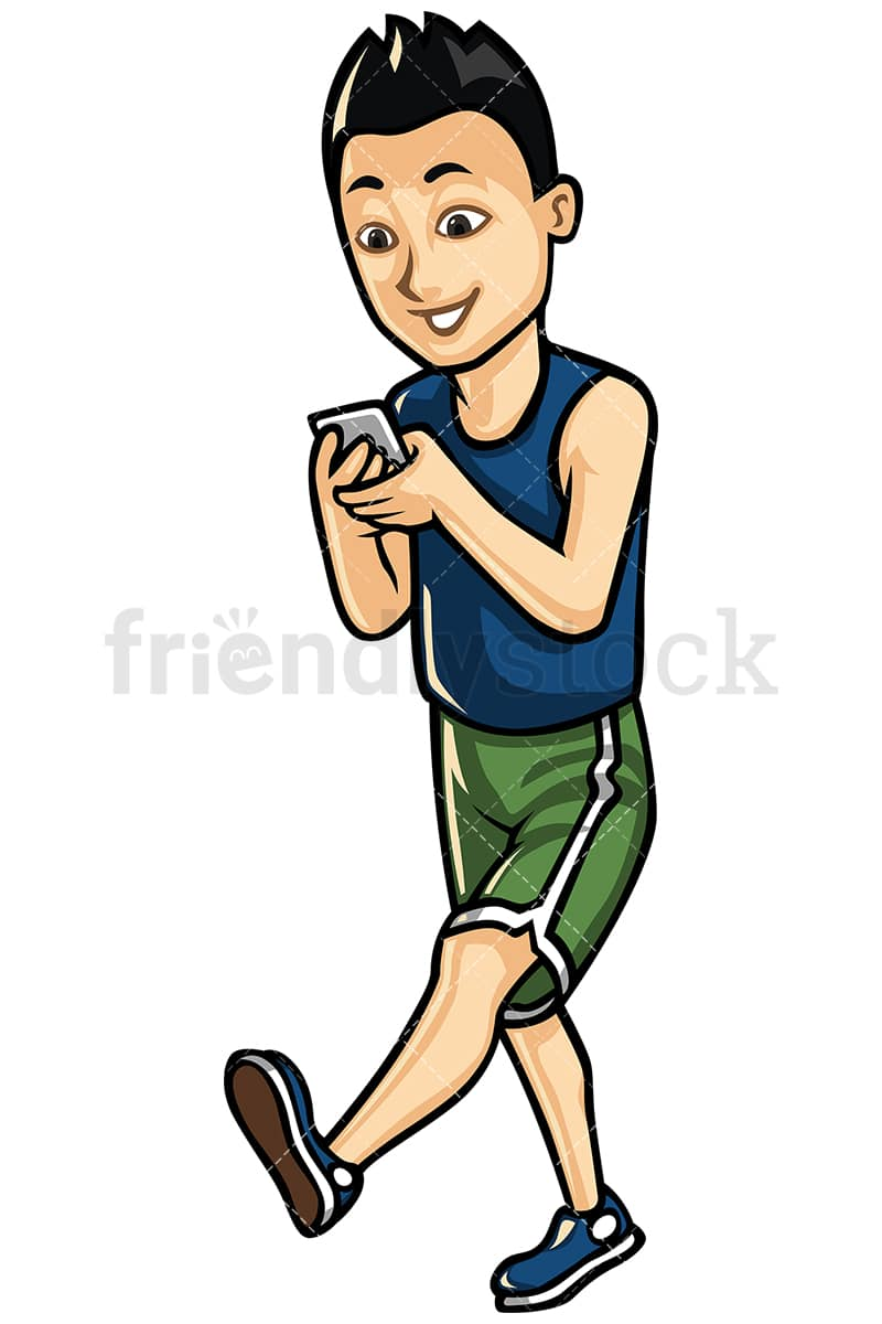 asian man texting while walking vector cartoon clipart friendlystock