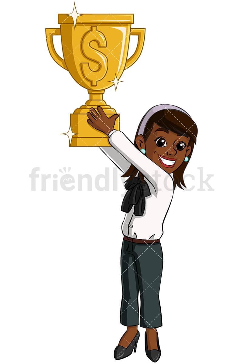Black Business Woman Gold Trophy