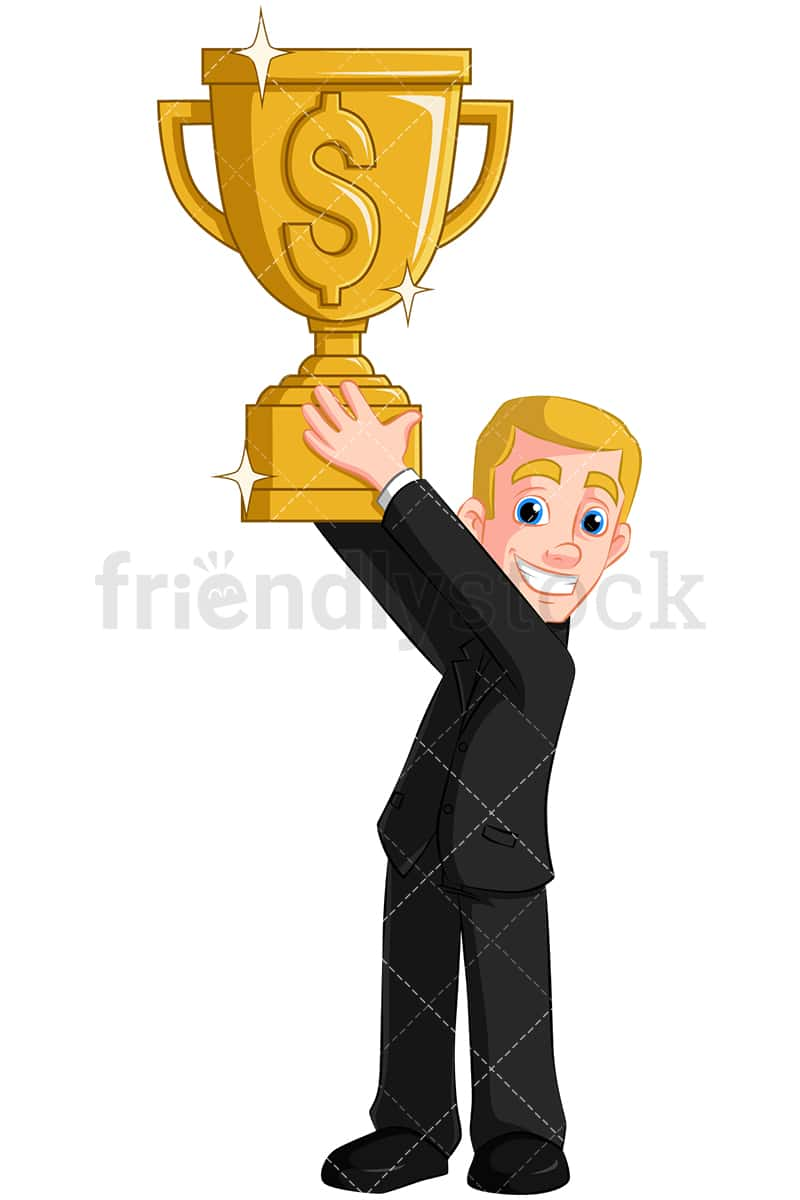 Business Man Holding Gold Trophy
