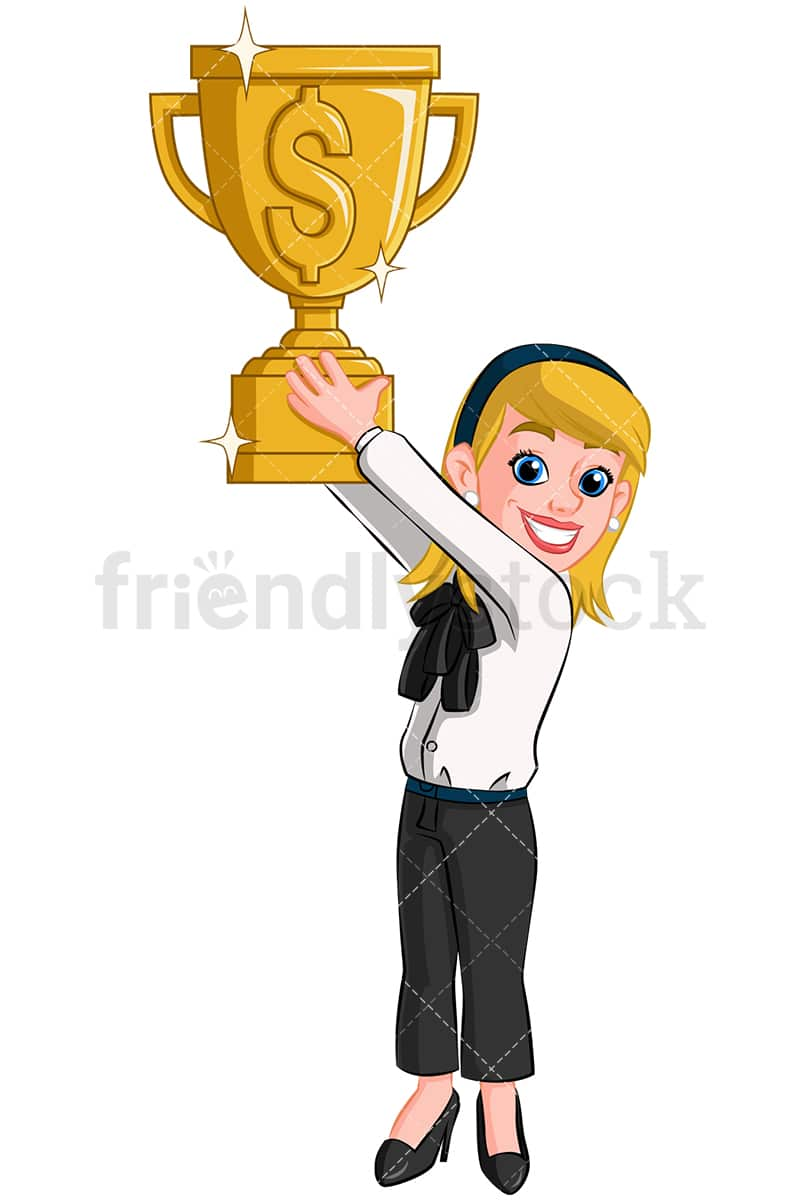Business Woman Holding Gold Trophy