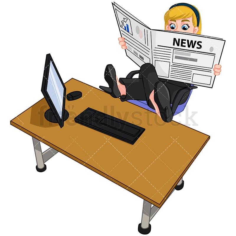 Groovy A Businesswoman With Her Feet Up On Her Desk Reading A Newspaper Interior Design Ideas Inesswwsoteloinfo