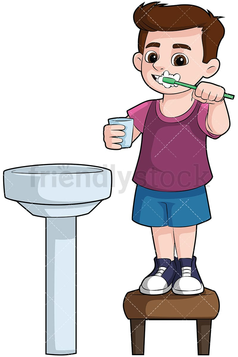 little boy brushing his teeth in the sink vector cartoon clipart