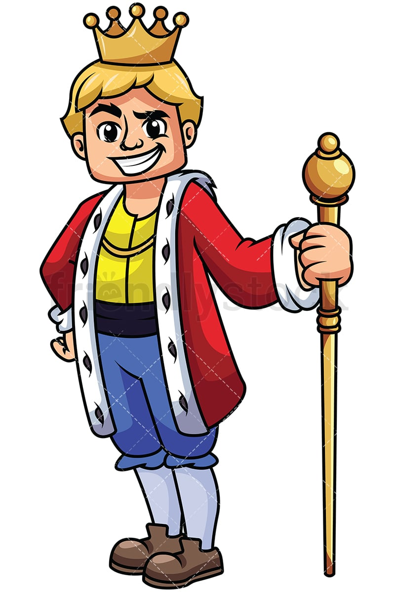 young king holding scepter vector cartoon clipart friendlystock rh friendlystock com king clip art for silhouette king clipart black and white