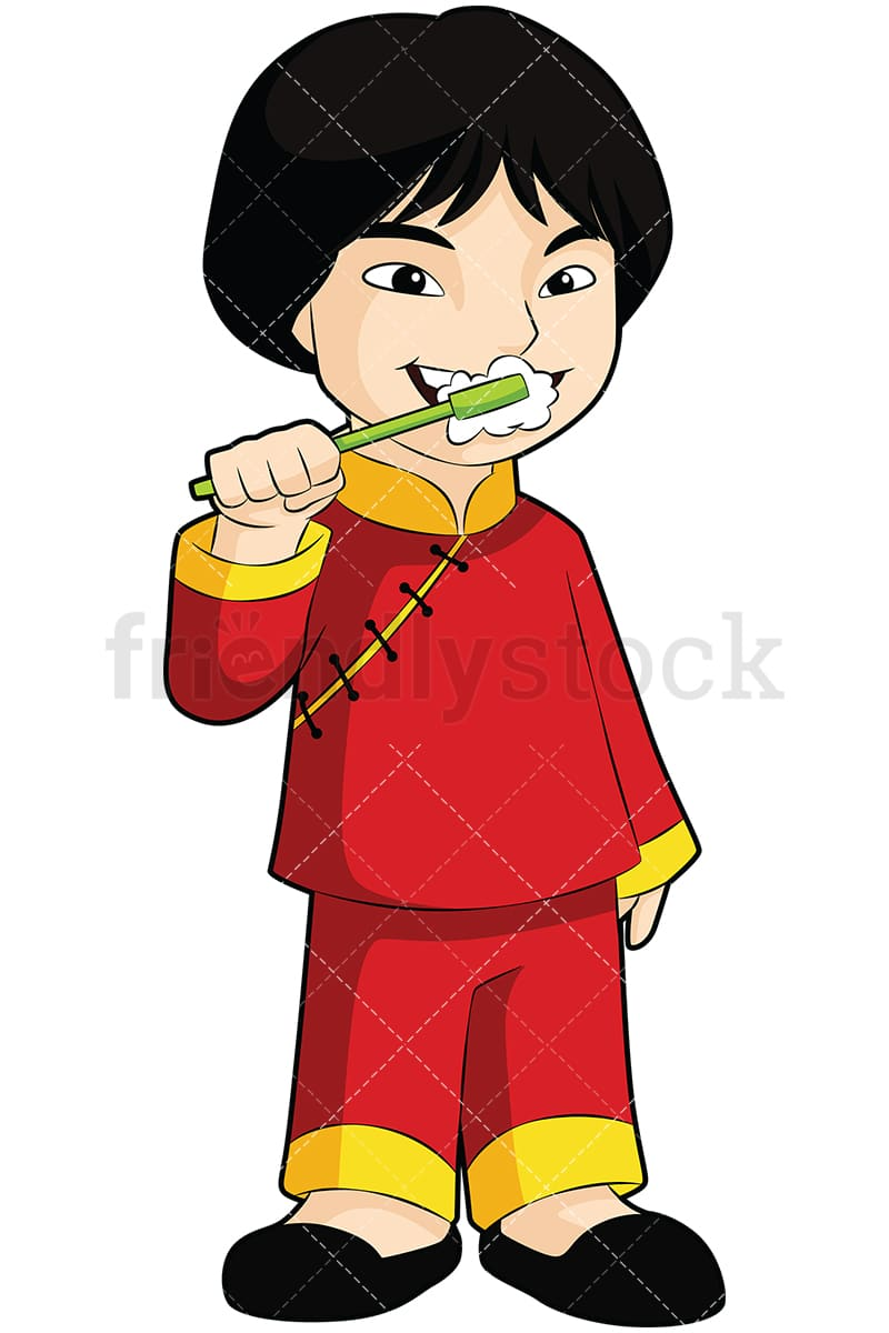 asian boy brushing his teeth vector cartoon clipart - friendlystock