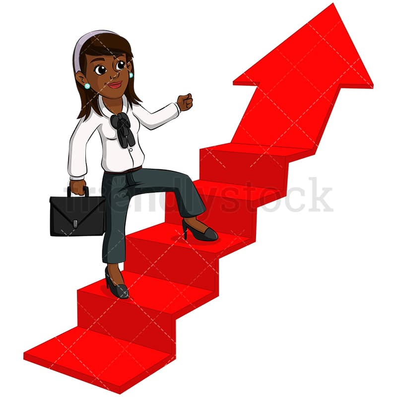 A Black Woman Climbing Arrow Shaped Stairs